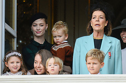 Beatrice Borromeo, Princess Caroline of Hanover, Princess Alexandra of Hanover, India Casiraghi, Stefano Ercole Casiraghi, Alexandre Andrea Casiraghi, Maximilian Casiraghi, Francesco Casiraghi are attending the military parade held in the Palace Square, during the National Day ceremonies, Monaco Ville (Principality of Monaco), on November 19, 2019. Photo by Marco Piovanotto/ABACAPRESS.COM