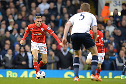 Cardiff's Craig Bellamy runs at Tottenham's Jan Vertonghen  - Photo mandatory by-line: Mitchell Gunn/JMP - Tel: Mobile: 07966 386802 02/03/2014 - SPORT - FOOTBALL - White Hart Lane - London - Tottenham Hotspur v Cardiff City - Premier League