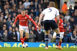Cardiff's Craig Bellamy runs at Tottenham's Jan Vertonghen  - Photo mandatory by-line: Mitchell Gunn/JMP - Tel: Mobile: 07966 386802 02/03/2014 - SPORT - FOOTBALL - White Hart Lane - London - Tottenham Hotspur v Cardiff City - Premier League
