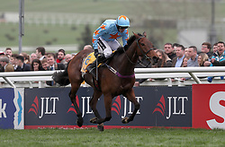 Jockey Ruby Walsh on Un De Sceaux wins the Ryanair Chase during St Patrick's Thursday of the 2017 Cheltenham Festival at Cheltenham Racecourse.