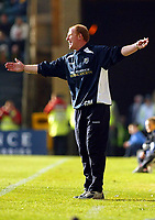 Photograph:Scott Heavey.<br />Gillingham v West Bromwich Albion. Nationwide Duvision one. 04/10/2003.<br />Gary Megson has all the time on hands