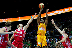 Bo McCalebb of Macedonia between Anton Ponkrashov of Russia and  Sergey Bykov of Russia during basketball game between National basketball teams of F.Y.R. of Macedonia and Russia of 3rd place game of FIBA Europe Eurobasket Lithuania 2011, on September 18, 2011, in Arena Zalgirio, Kaunas, Lithuania. (Photo by Vid Ponikvar / Sportida)