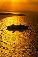 Cruise ship off the island of Santorini, the Cyclades, Greece