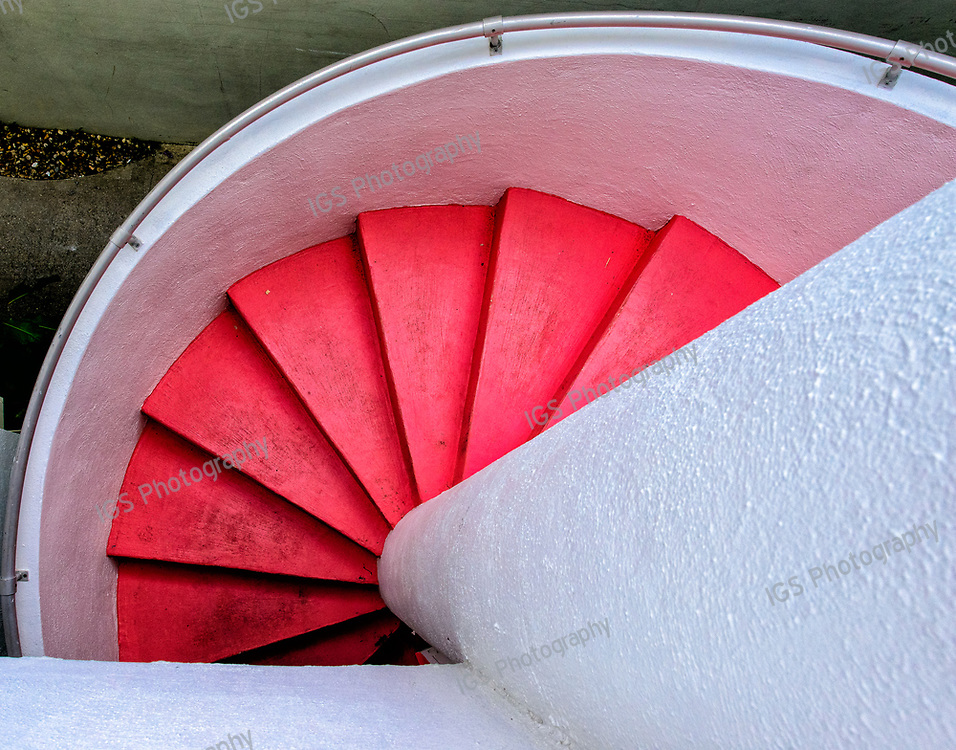Brightly Colored Spiral Staircase