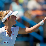 August 19, 2014, New Haven, CT:<br /> Alison Riske serves during a match against Flavia Pennetta on day five of the 2014 Connecticut Open at the Yale University Tennis Center in New Haven, Connecticut Tuesday, August 19, 2014.<br /> (Photo by Billie Weiss/Connecticut Open)
