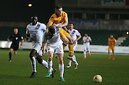 Rhys Healey of Newport county gets blocked by Michael Nelson (6) of Barnet. EFL Skybet football league two match, Newport county v Barnet at Rodney Parade in Newport, South Wales on Tuesday 25th October 2016.<br /> pic by Andrew Orchard, Andrew Orchard sports photography.