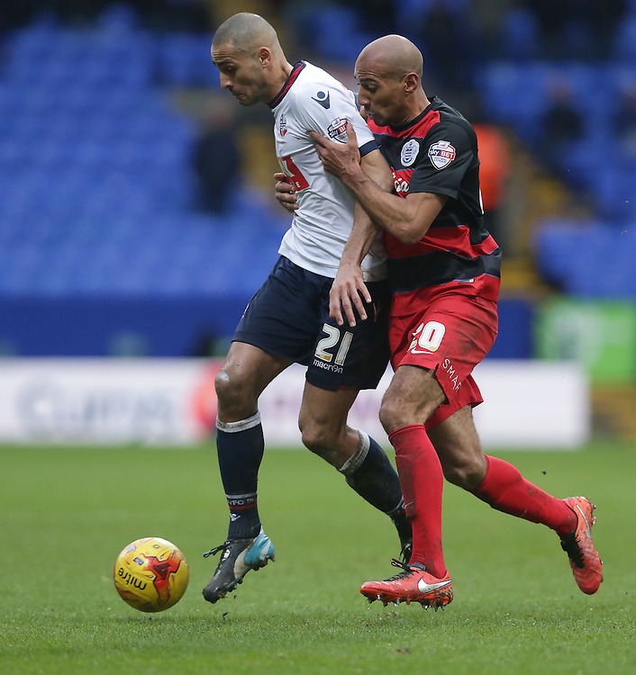Bolton Wanderers' Darren Pratley is chased by Queens Park Rangers' Karl Henry<br /> <br /> Photographer Stephen White/CameraSport<br /> <br /> Football - The Football League Sky Bet Championship - Bolton Wanderers v Queens Park Rangers - Saturday 20th February 2016 - Macron Stadium - Bolton <br /> <br /> © CameraSport - 43 Linden Ave. Countesthorpe. Leicester. England. LE8 5PG - Tel: +44 (0) 116 277 4147 - admin@camerasport.com - www.camerasport.com