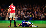 Eden Hazard of Chelsea reacts after being fouled .Premier league match, Chelsea v Manchester United at Stamford Bridge in London on Sunday 5th November 2017.<br /> pic by Andrew Orchard sports photography.