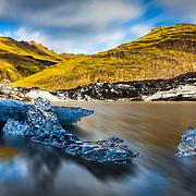 Small icebergs from Myrdalsjokull glacier.