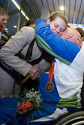Franc Pinter with bronze paraolympic medal  at welcome ceremony at Airport Joze Pucnik, on September 20, 2008, in Brnik, Slovenia. (Photo by Vid Ponikvar / Sportal Images)./ Sportida)