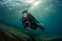 Sylvia Earle explorers the water of the Gulf of California Mexico.