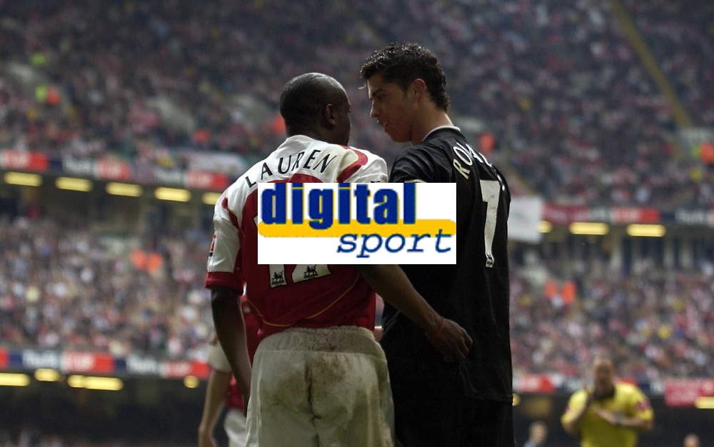 Fotball<br /> England 2004/2005<br /> Foto: SBI/Digitalsport<br /> NORWAY ONLY<br /> <br /> Date: 21/05/2005.<br /> Arsenal v Manchester United FA Cup Final.<br /> <br /> Cristiano Ronaldo of United and Lauren of Arsenal have a disagreement.