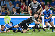 Mitchell Drummond of the BNZ Crusaders dives for the try line during the Canterbury Crusaders v the Western Force Super Rugby Match. Nib Stadium, Perth, Western Australia, 8th April 2016. Copyright Image: Daniel Carson / www.photosport.nz