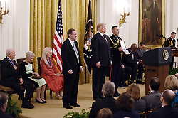 US President Donald Trump awards the Presidential Medal of Freedom to singer Elvis Presley, President and CEO of Elvis Presley Enterprises Jack Soden accepting, at the White House in Washington, DC, on November 16, 2018. - The Medal is the highest civilian award of the United States. Photo by Olivier Douliery/ABACAPRESS.COM