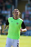Luke Ayling of Yeovil Town warming up before the Skybet championship match, Yeovil Town v Reading at Huish Park in Yeovil on Saturday 31st August 2013. <br /> Picture by Sophie Elbourn, Andrew Orchard sports photography,