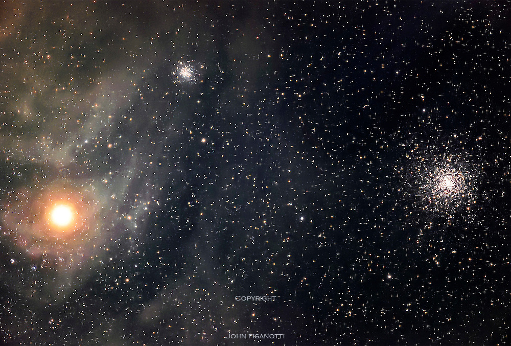 Antares, NGC 6144 and M4.