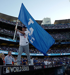 October 24, 2017 - Los Angeles, California, U.S. - Actor Rob Lowe waves Dodger flag prior to game one of a World Series baseball game between the Houston Astros and the Los Angeles Dodgers at Dodger Stadium on Tuesday, Oct. 24, 2017 in Los Angeles. (Photo by Keith Birmingham, Pasadena Star-News/SCNG) (Credit Image: © San Gabriel Valley Tribune via ZUMA Wire)
