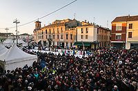 BONDENO, ITALY - 6 JANUARY 2020: A crowd tries to reach Matteo Salvini, former Interior Minister of Italy and leader of the far-right League party, to take a selfie with him in Bondeno, Italy, on January 6th 2020.<br /> <br /> Matteo Salvini is campaigning in the region of Emilia Romagna to support the League candidate Lucia Borgonzoni running for governor.<br /> <br /> After being ousted from government in September 2019, Matteo Salvini has made it a priority to campaign in all the Italian regions undergoing regional elections to demonstrate that, in power or not, he still commands considerable support.<br /> <br /> The January 26th regional elections in Emilia Romagna, traditionally the home of the Italian left, has been targeted by Matteo Salvini as a catalyst for bringing down the government. A loss for the center-left Democratic Party (PD) against Mr Salvini's right would strip the centre-left party of control of its symbolic heartland, and probably trigger a crisis in its coalition with the Five Star Movement.