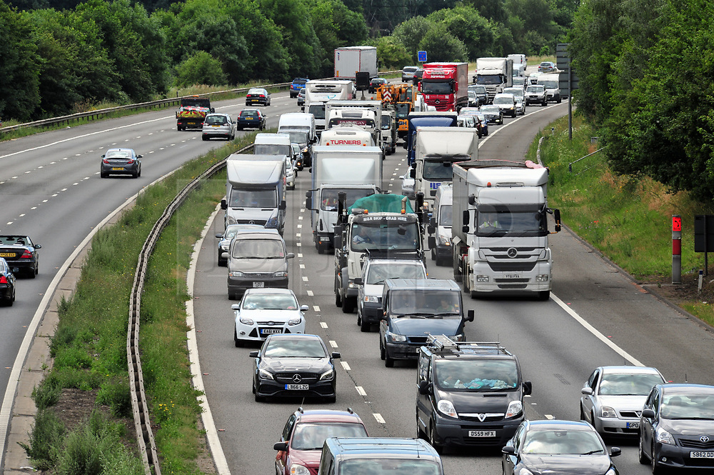 © Licensed to London News Pictures. 21/07/2017<br /> Traffic QUEUE HELL on the M25 all afternoon.<br /> THE BACK OF THE QUEUING TRAFFIC Anti-clock wise between J4 Orpington and Junction 3 for Swanley Kent.<br />  Traffic is at a near standstill as the summer holiday getaway madness begins as the schools break up for the summer.<br /> Photo credit: Grant Falvey/LNP