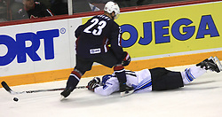Dustin Brown (23) of USA  and Saku Koivu at ice-hockey match Finland vs USA at Qualifying round Group F of IIHF WC 2008 in Halifax, on May 11, 2008 in Metro Center, Halifax, Nova Scotia, Canada. (Photo by Vid Ponikvar / Sportal Images)