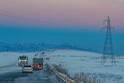A skyline brighten as sunset move forward western Armenia while blizzard covers the M2 Highway in Syunik region causing road traffic accidents near Goris on Sunday, Jan 24, 2021. (Photo/ Vudi Xhymshiti)