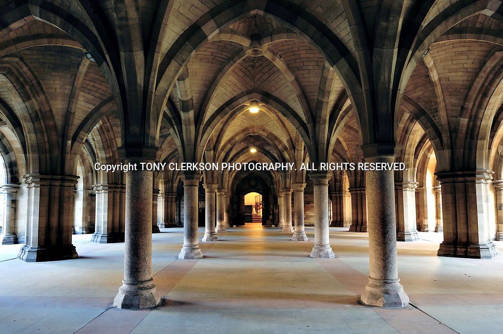The Cloisters connect the East and West Quadrangles at Glasgow Uni