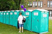 Row of outdoor portable toilets. Grand Old Day Street Fair St Paul Minnesota USA