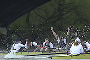 Putney, London   <br /> 2002 Varsity Boat Race. <br /> Photo Peter Spurrier<br /> 2002 Boat Race<br /> 30/03/02<br /> Oxford president Ben Burch, with arms aloft celebrating victory.[Mandatory Credit:Peter SPURRIER/Intersport Images]