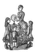children's Fashion with teacher and a globe teaching children geography From Godey's Lady's Book and Magazine, Vol 101 July to December 1880 published in Philadelphia