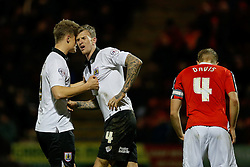 Matt Smith of Bristol City talks to a dejected looking Aden Flint after Jay Emmanuel-Thomas shoots wide with a chance to level the score - Photo mandatory by-line: Rogan Thomson/JMP - 07966 386802 - 20/12/2014 - SPORT - FOOTBALL - Crewe, England - Alexandra Stadium - Crewe Alexandra v Bristol City - Sky Bet League 1.