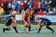 Hannah Cozens of Wales © goes past Darya Belavusava (l) and Ryta Batura of Belarus (r).Belarus v Wales, EuroHockey 11 Women's championshp 2017 in Cardiff, South Wales , Wednesday 9th August 2017<br /> pic by Andrew Orchard