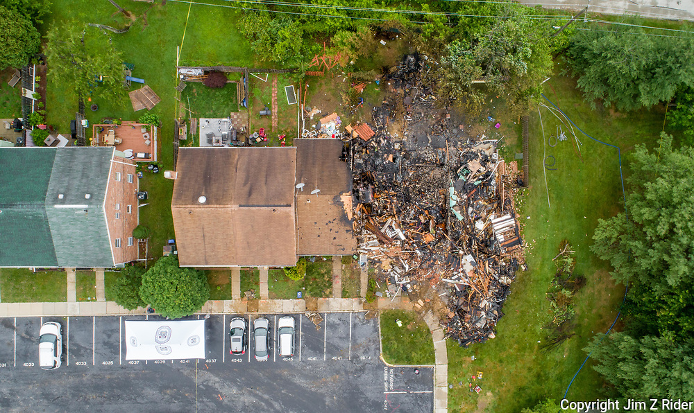 Aerial view of the row homes destroyed in a blast following a confrontation with a code enforcement officer in Eagleville, Pennsylvania.