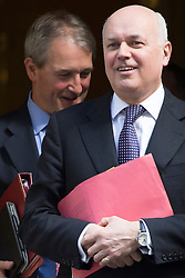 © licensed to London News Pictures. London, UK 30/04/2013. Secretary of State for Environment, Food and Rural Affairs Owen Paterson (left) and Secretary of State for Work and Pensions Iain Duncan Smith MP (right) attending cabinet meeting on Downing Street on Tuesday, 30 April 2013. Photo credit: Tolga Akmen/LNP