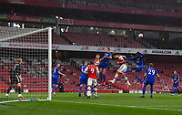 Football - 2019 / 2020 Premier League - Arsenal vs. Leicester City<br /> <br /> Leicester players clear a corner, at the Emirates Stadium.<br /> <br /> COLORSPORT/ASHLEY WESTERN