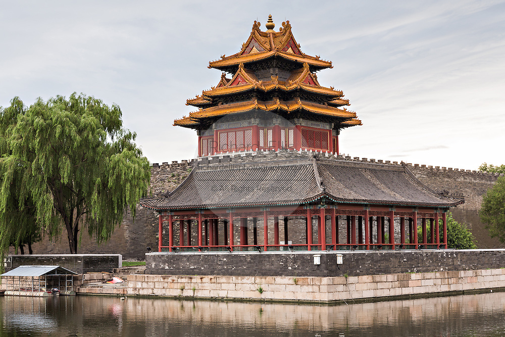 The Arrow Tower on the palace walls of the Forbidden City during a summer evening in Beijing, China