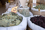 Israel, Jerusalem, dried herbs and spices at the Machane Yehuda Market October 2005