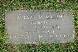 31 August 2017:   Veterans graves in Park Hill Cemetery in eastern McLean County.<br /> <br /> Robert M Marsh  Illinois TEC3  117 Field Artillery  World War II  July 23 1918  Sept 1 1972