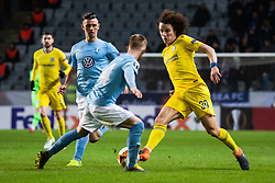 February 14, 2019 - MalmÃ, Sweden - 190214 Marcus Antonsson and Anders Christiansen of Malmö FF defends against David Luiz of Chelsea during the Europa league match between Malmö FF and Chelsea on February 14, 2019 in Malmö..Photo: Ludvig Thunman / BILDBYRÃ…N / kod LT / 92225 (Credit Image: © Ludvig Thunman/Bildbyran via ZUMA Press)