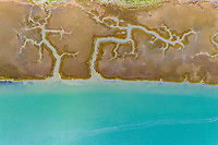 Aerial view of abstract coastal wetlands near Longueira, Portugal.