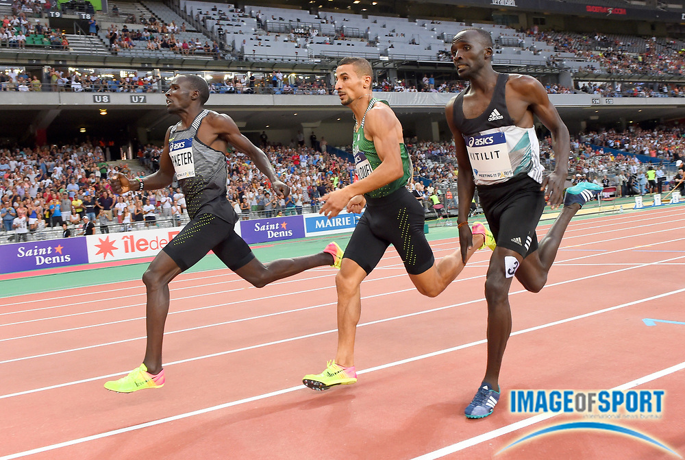 Alfred Kipketer (KEN) defeats Taoufik Makhloufi (ALG) and Jonathan Kitilit (KEN) to win the 800m in the Meeting de Paris during a IAAF Diamond League track and field meet at Stade de France in Saint-Denis, France on Saturday, Aug. 28, 2016. Photo by Jiro Mochizuki