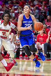 NORMAL, IL - December 20: Jordyn Frantz defended by Te Te Maggett during a college women's basketball game between the ISU Redbirds and the St. Louis Billikens on December 20 2018 at Redbird Arena in Normal, IL. (Photo by Alan Look)