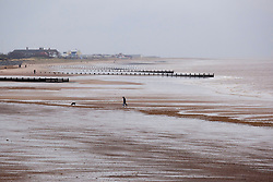 © Licensed to London News Pictures.09/04/2012, Skegness, North Lincolnshire, UK. Bank Holiday Monday weather, Skegness sea front. Pictured, a man and his dog alone on Skegness beach. Photo credit : Dave Warren/LNP