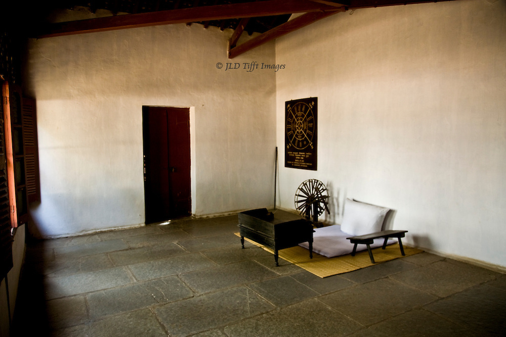 Mahatma Ghandi's room, preserved in his ashram, Gandhinagar, Gujarat, India.