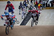 #41 (SUVOROVA Natalia) RUS and #126 (TANNO Kanami) JPN at Round 3 of the 2020 UCI BMX Supercross World Cup in Bathurst, Australia.