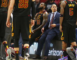 April 29, 2018 - Cleveland, OH, USA - Cleveland Cavaliers forward LeBron James sits next to coach Tyronn Lue during a timeout against the Indiana Pacers in the second quarter of Game 7 of the Eastern Conference First Round series on Sunday, April 29, 2018 at Quicken Loans Arena in Cleveland, Ohio. The Cavs won the game, 105-101. (Credit Image: © Leah Klafczynski/TNS via ZUMA Wire)