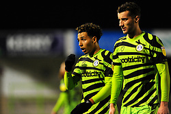 Odin Bailey  and Baily Cargill of Forest Green Rovers during half-time- Mandatory by-line: Nizaam Jones/JMP - 27/02/2021 - FOOTBALL - The innocent New Lawn Stadium - Nailsworth, England - Forest Green Rovers v Colchester United - Sky Bet League Two