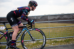 Alice Barnes crests the VAMberg at Drentse 8 van Westerveld 2018 - a 142 km road race on March 9, 2018, in Dwingeloo, Netherlands. (Photo by Sean Robinson/Velofocus.com)