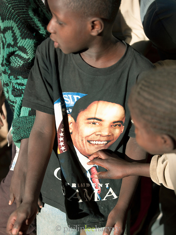 A boy wearing a Barack Obama t-shirt at the Koranic school in Djenné, Mali