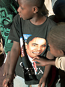 A boy wearing a Barack Obama t-shirt at the Koranic school in Djenné, Mali