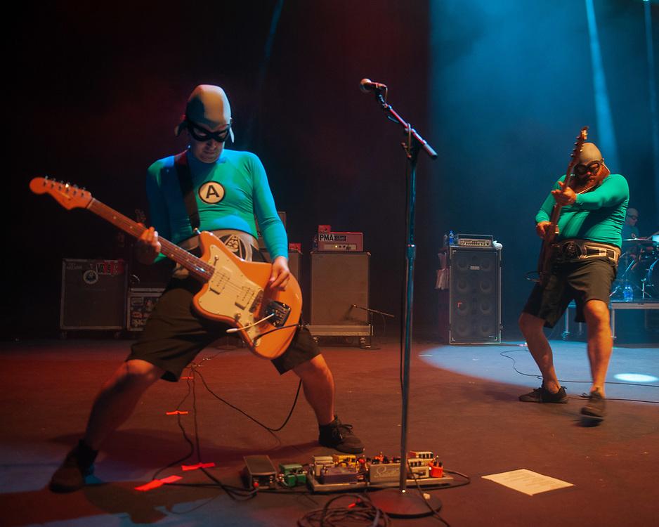 Eagebones Falconhawk and Crash McLarsen of The Aquabats! performing at Pacific Amphitheatre August 14, 2021. (Photo by Miguel Vasconcellos, OC Fair & Event Center)